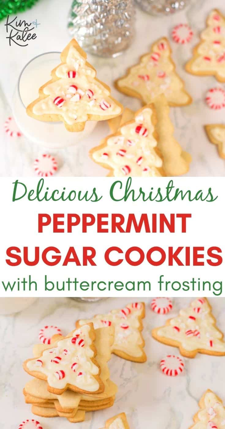 Delicious Christmas Tree Sugar Cookies with Peppermint Buttercream Frosting