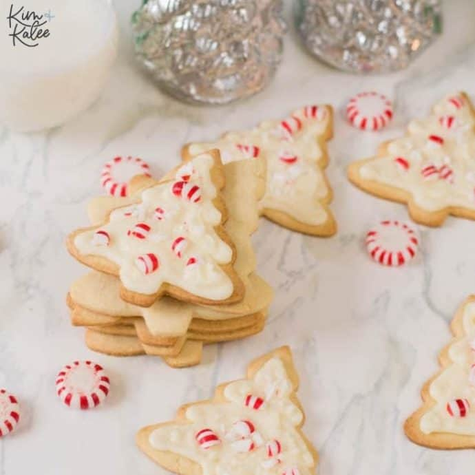 Christmas Tree Sugar Cookies with Peppermint Buttercream Frosting