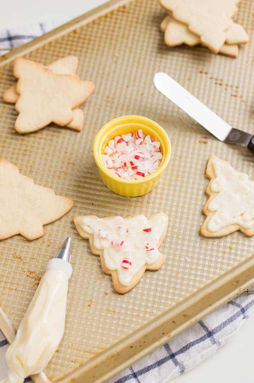 Frosting Christmas Tree Sugar Cookies