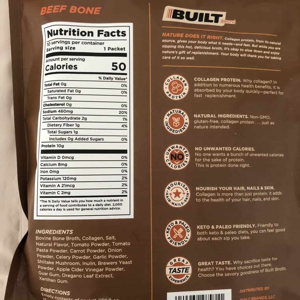 built broth beef nutrition label