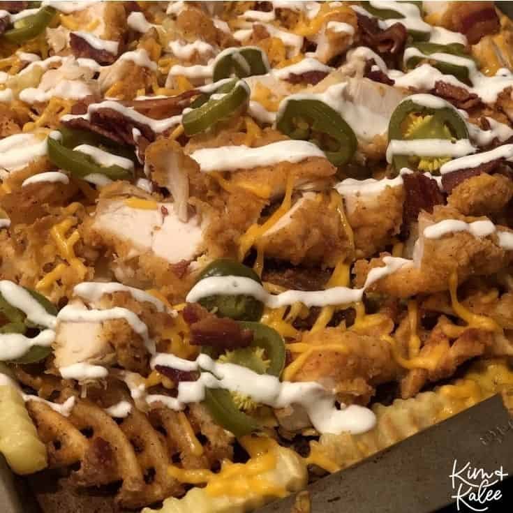 loaded fried chicken waffle fry nachos