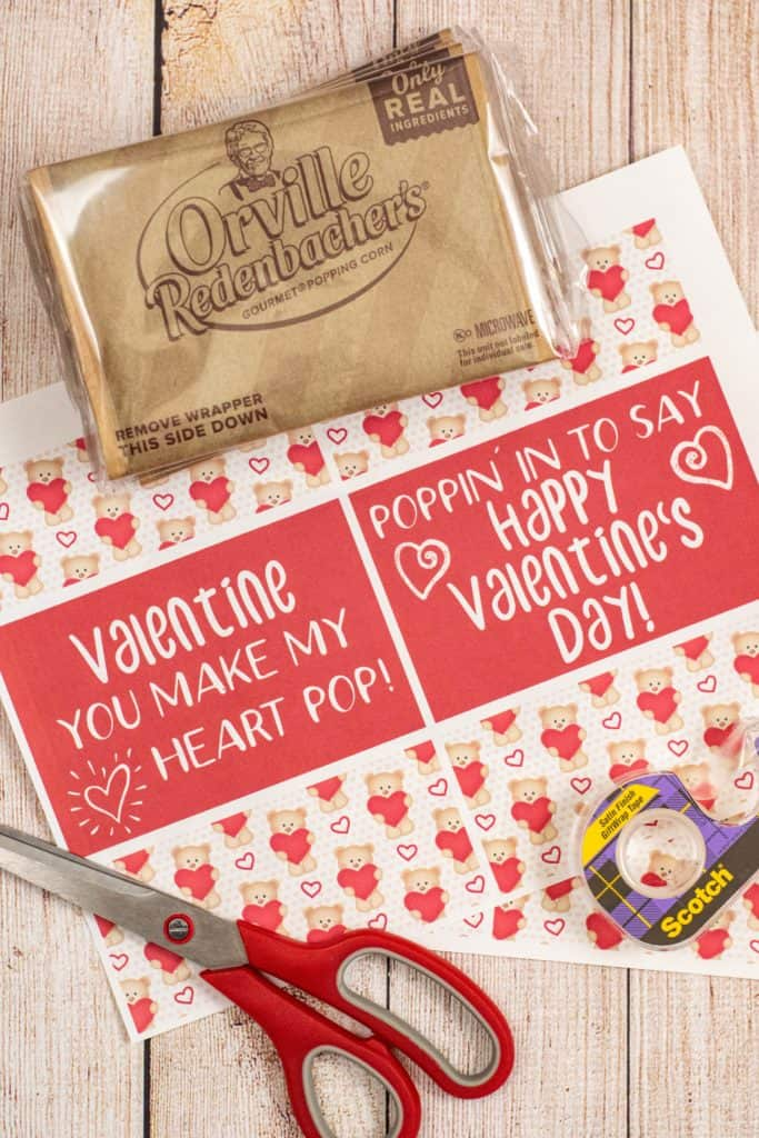 what you'll need - popcorn, printable, scissors, and tape
