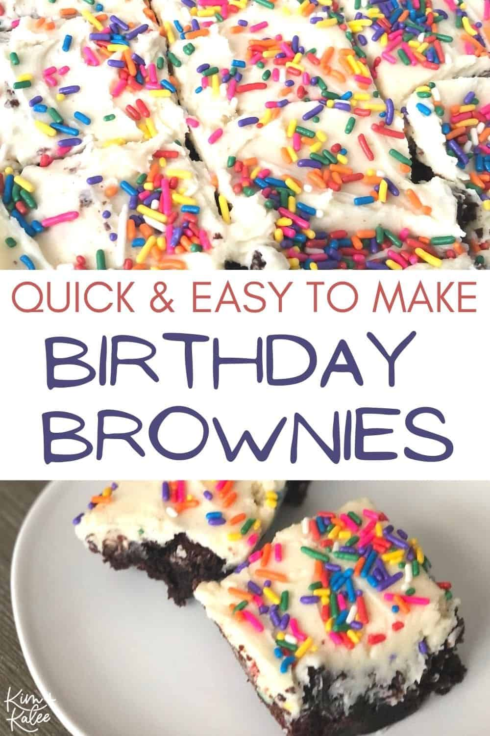 Quick and Easy to Make Birthday Brownies with White Vanilla Frosting and Sprinkles Collage