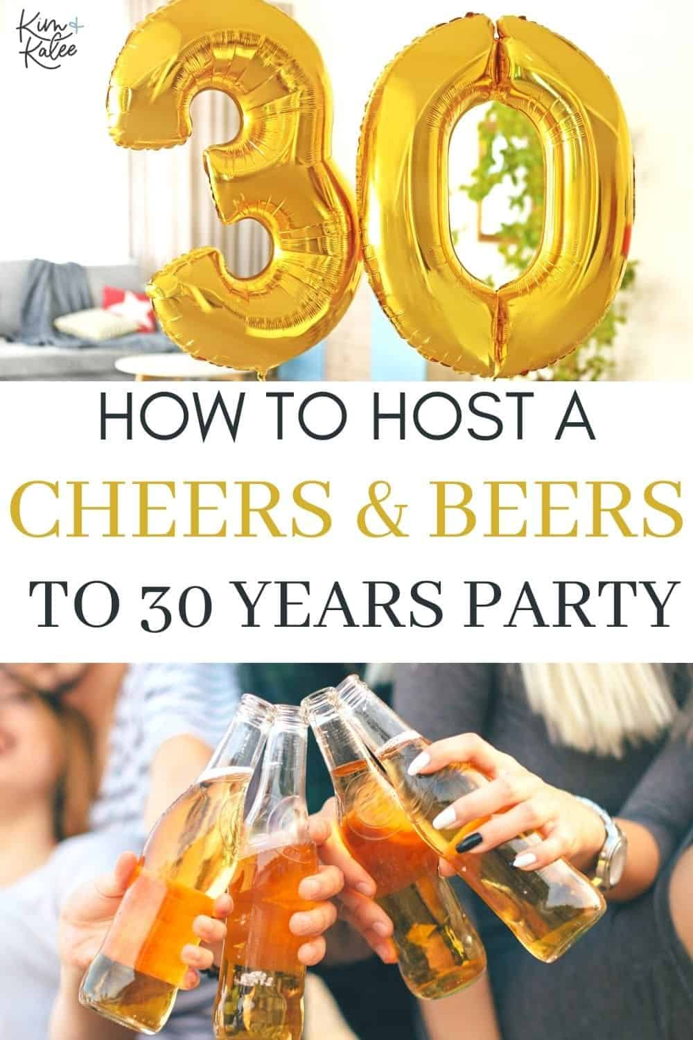 """Collage of a cheers and 30 balloons with the text overlay that reads """"Cheers and Beers to 30 Years Party"""""""