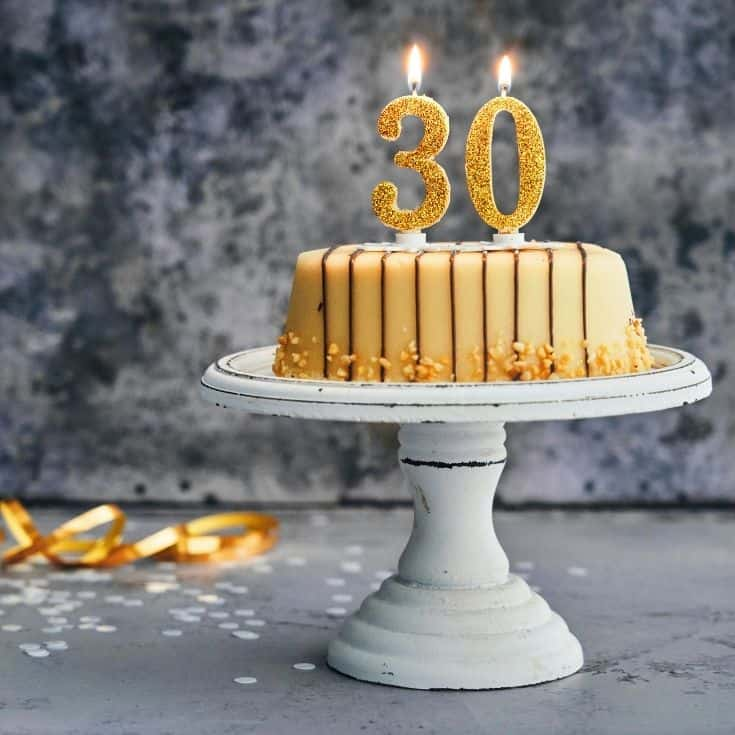 birthday cake with 30 candles