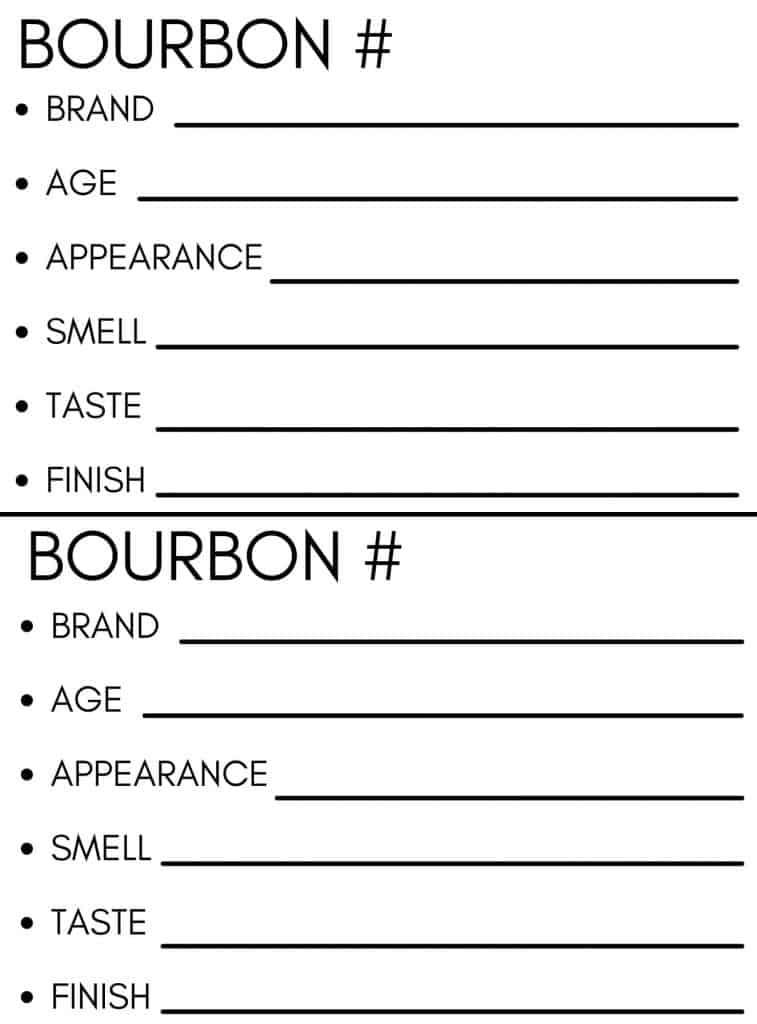 Bourbon Party Tasting Notes Template