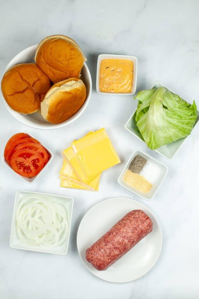 Instant pot Burger ingredients