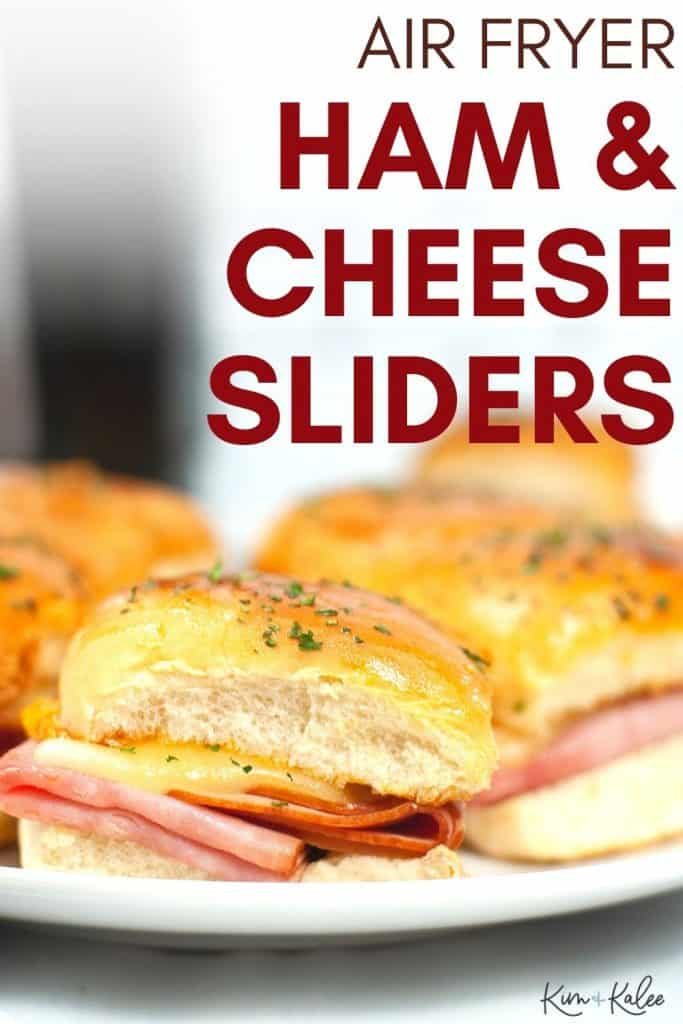 air fryer Hawaiian ham and cheese sliders on a plate