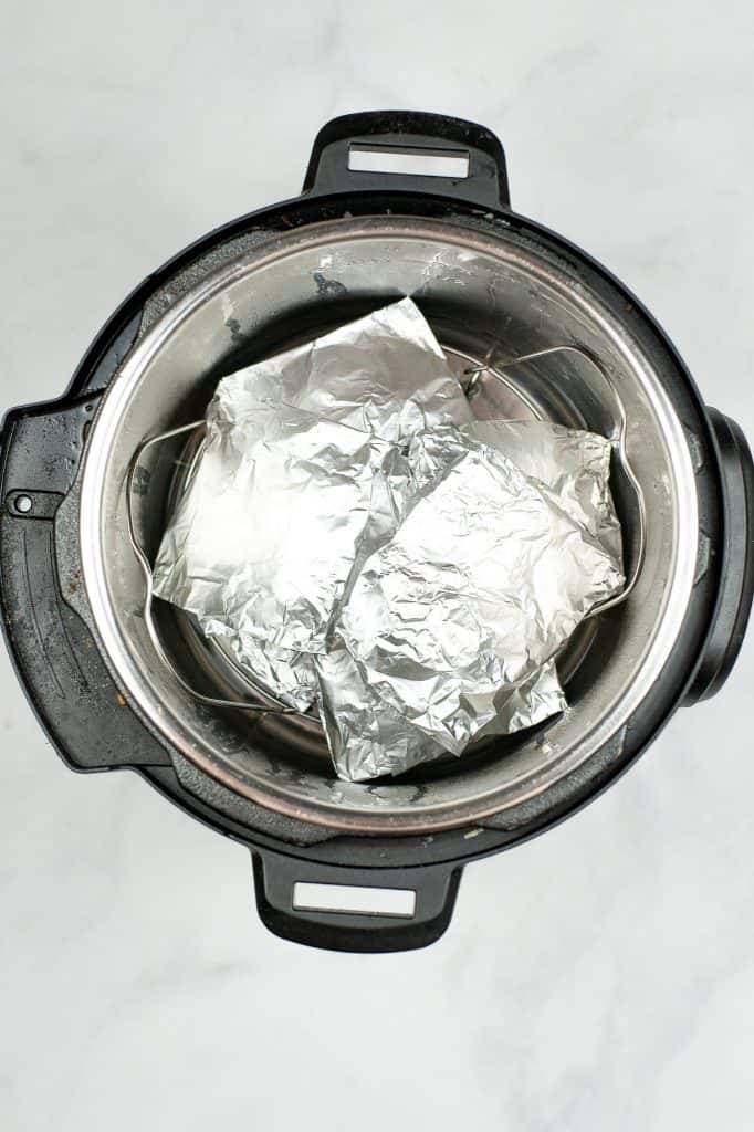 burger wrapped in foil