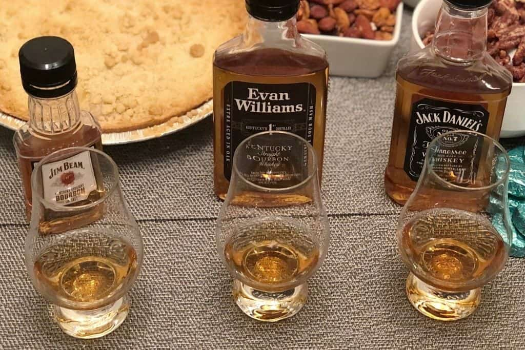 3 bourbons poured for our tasting