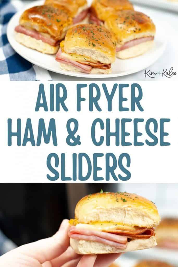 collage of easy air fryer ham and cheese sliders