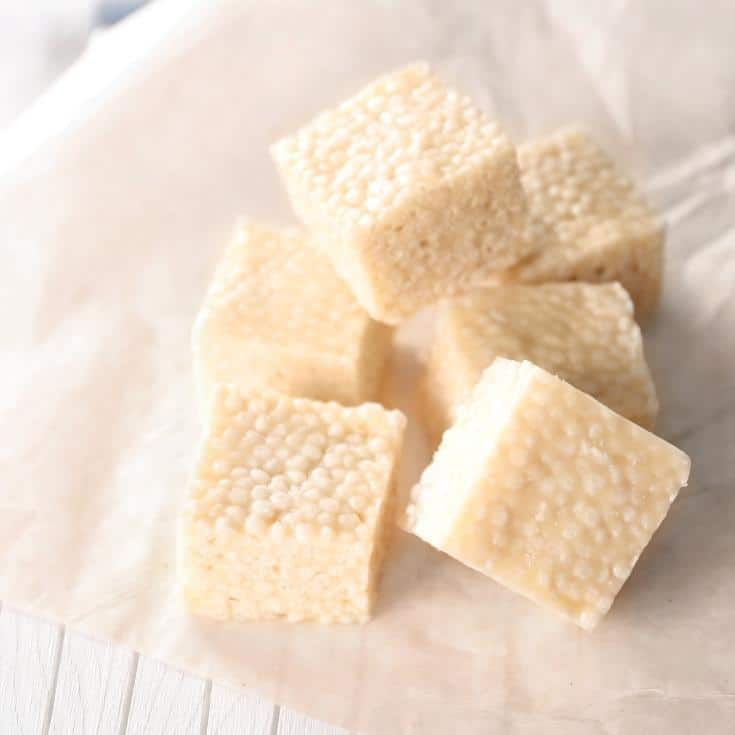 cut up squares of rice crispy treats