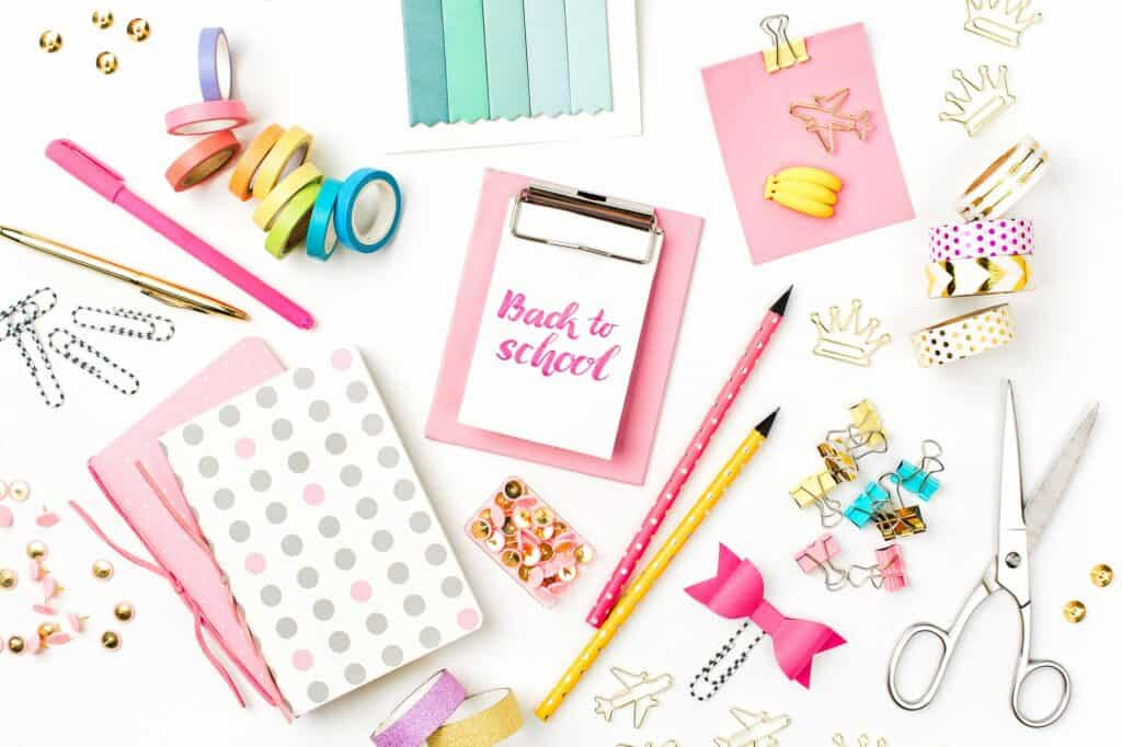 back to school written with bullet journal supplies around it