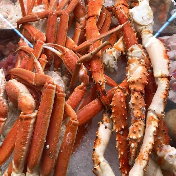 crab legs on ice