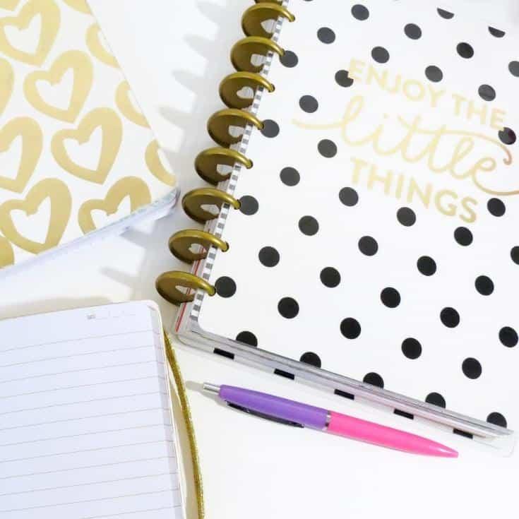 polka dot bullet journal supplies