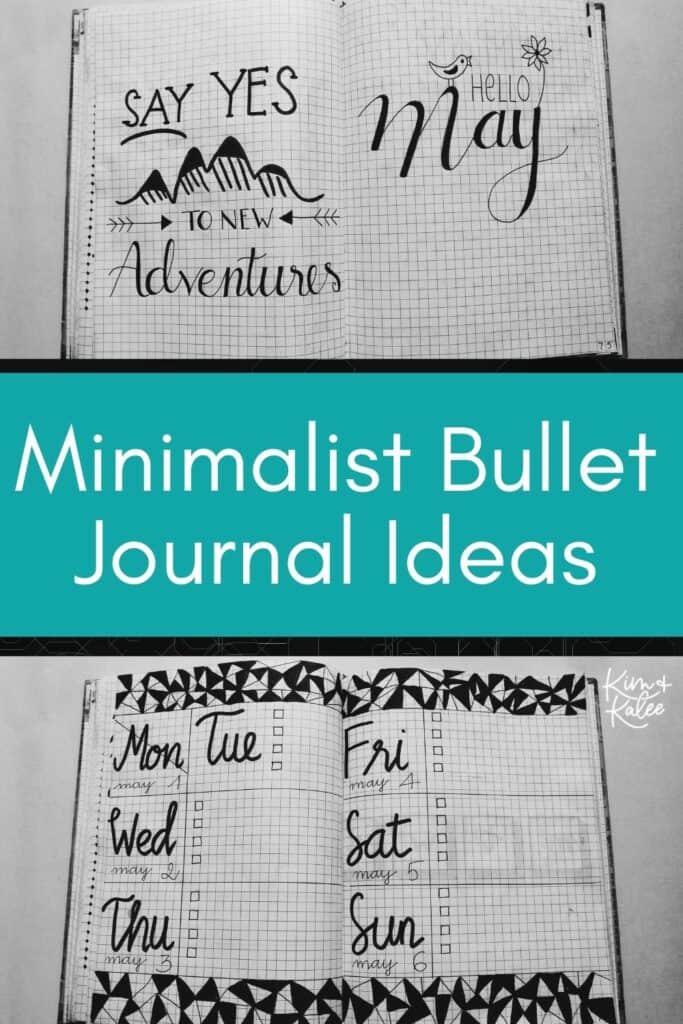 collage of 2 minimalist bullet journal weekly spread ideas