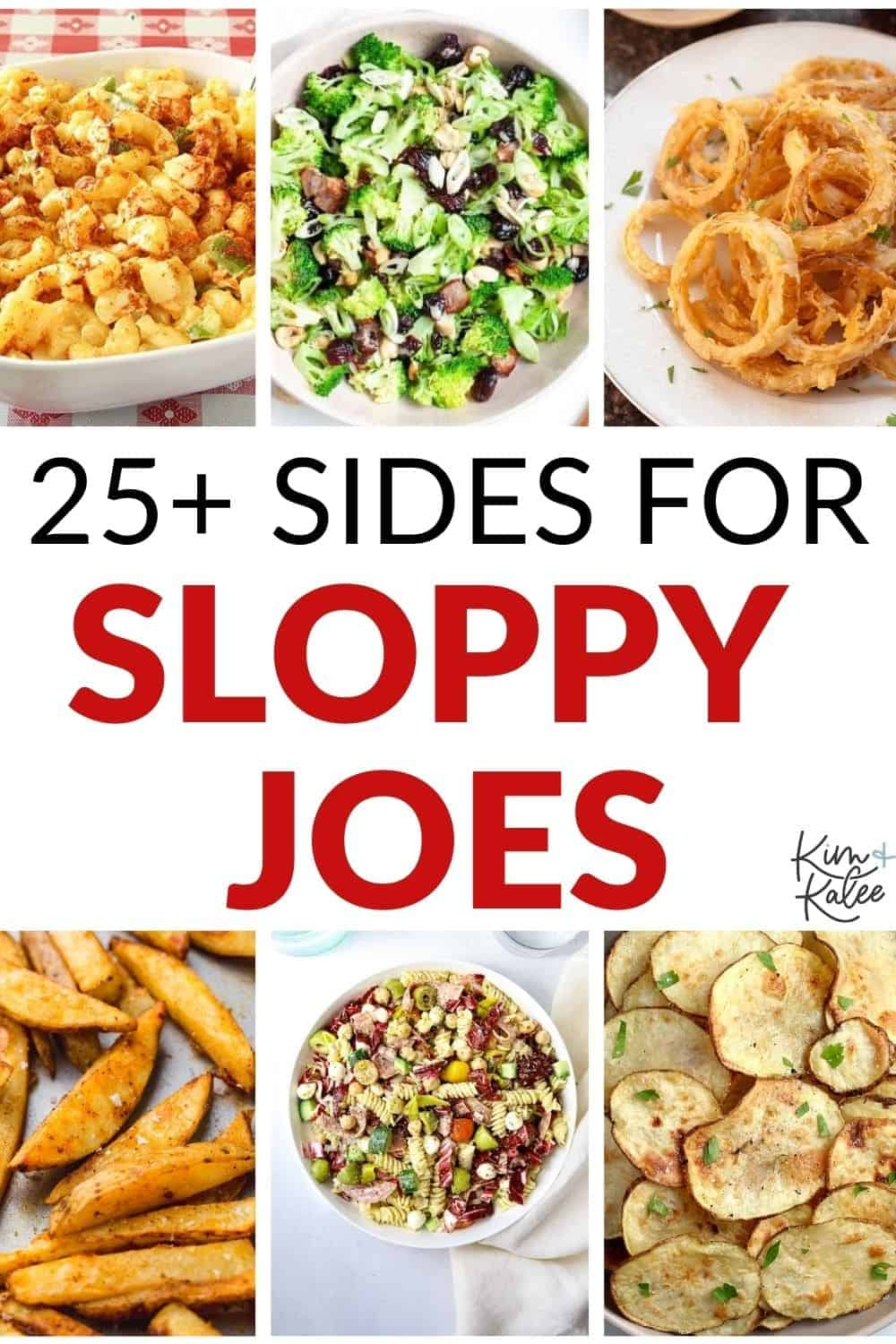 collage of the best side dishes to serve with sloppy joes