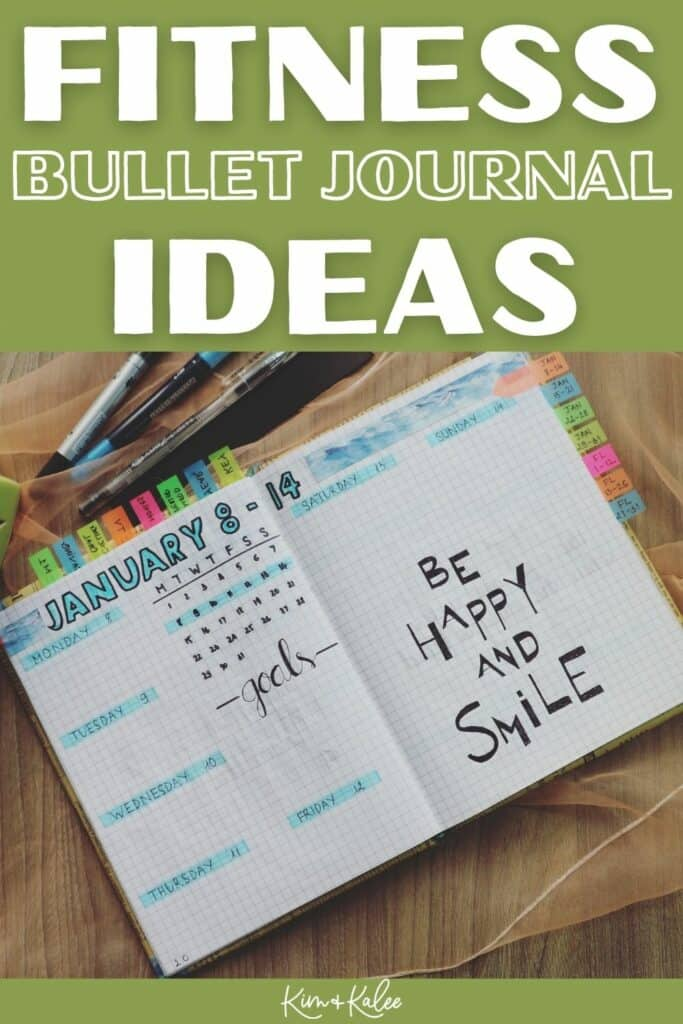 Fitness Bullet Journal Ideas with a doodled in notebook