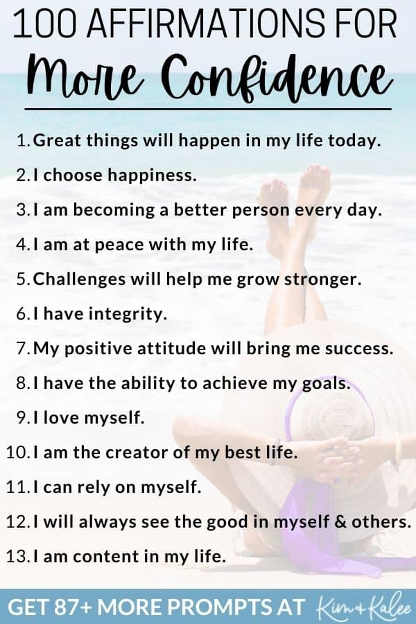 100 Affirmations for Confidence to Build Self Esteem