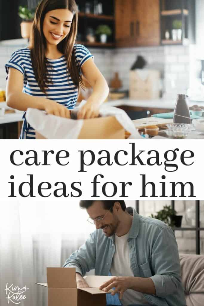 a woman packing a box and a man unboxing it - with the words care package ideas for him