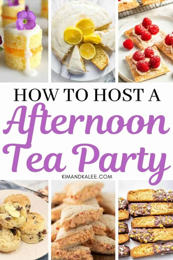 Collage of what to serve with tea at a party