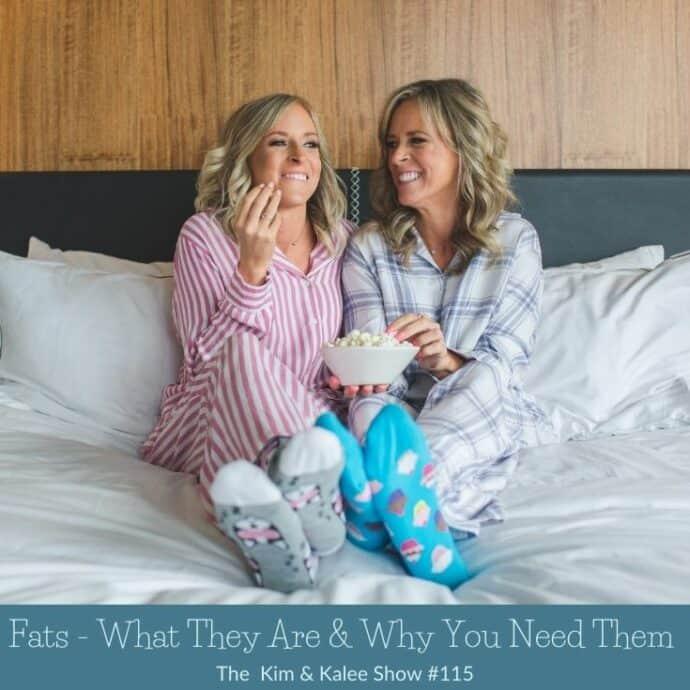 Kalee & Kim on bed eating popcorn in PJs