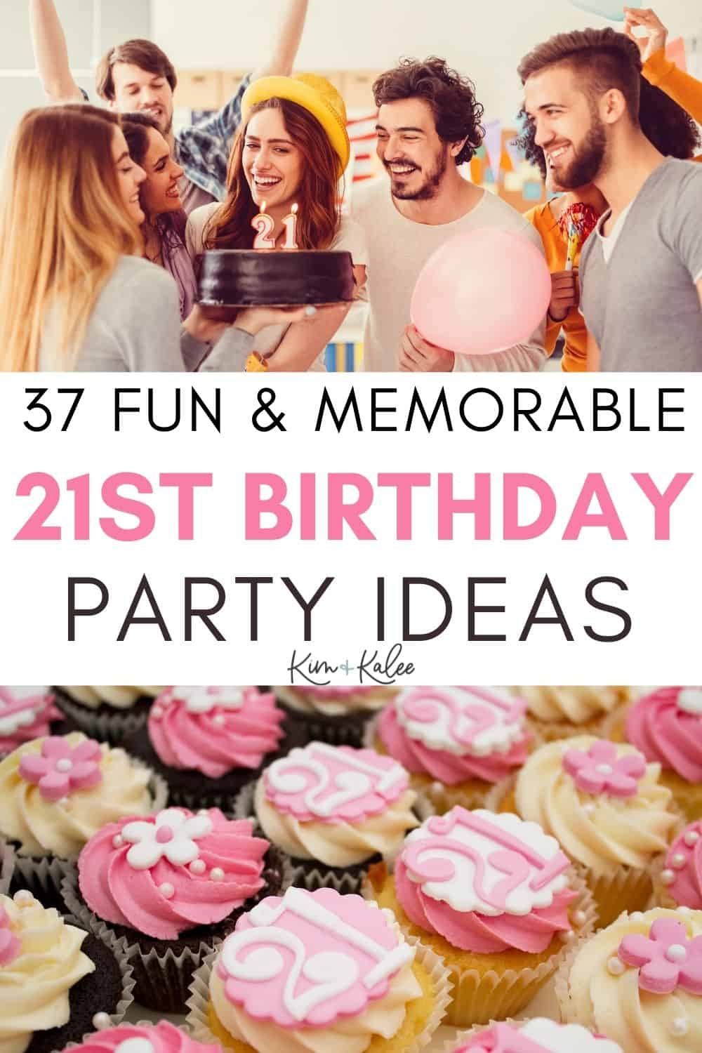 21st birthday ideas collage of a party with pink cupcakes