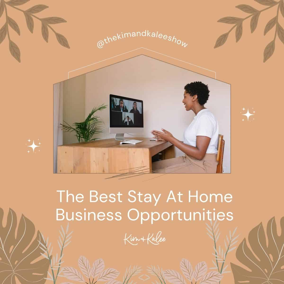 woman doing a video conference call with the text overlay The Best Stay At Home Moms Business Ideas