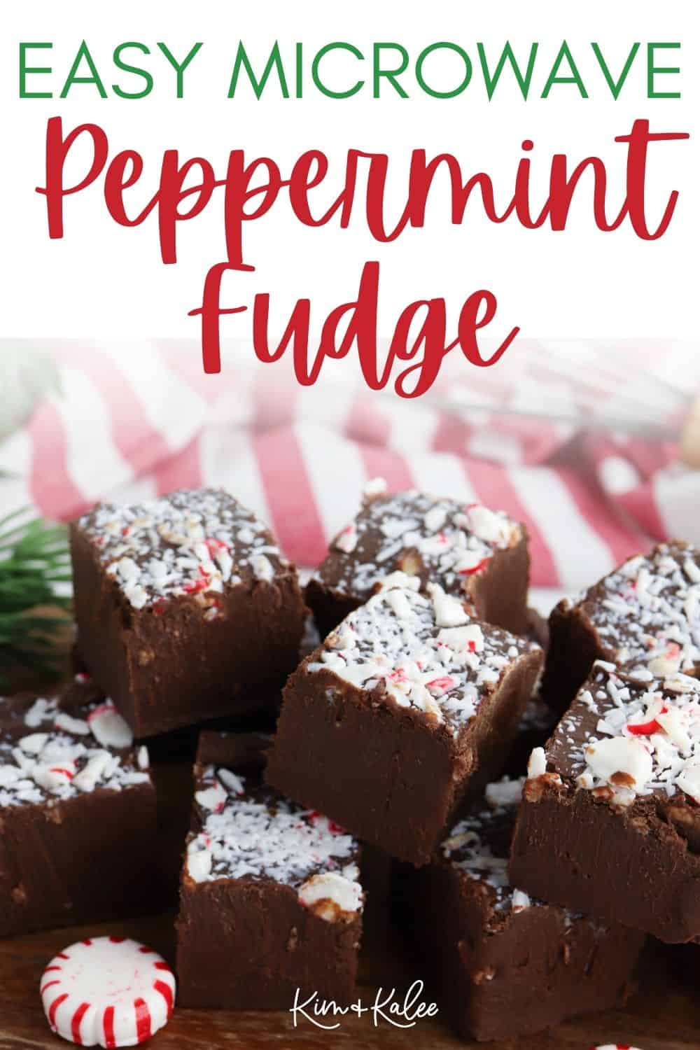 """Fudge with the text overlay """"Easy Microwave Peppermint Fudge"""""""
