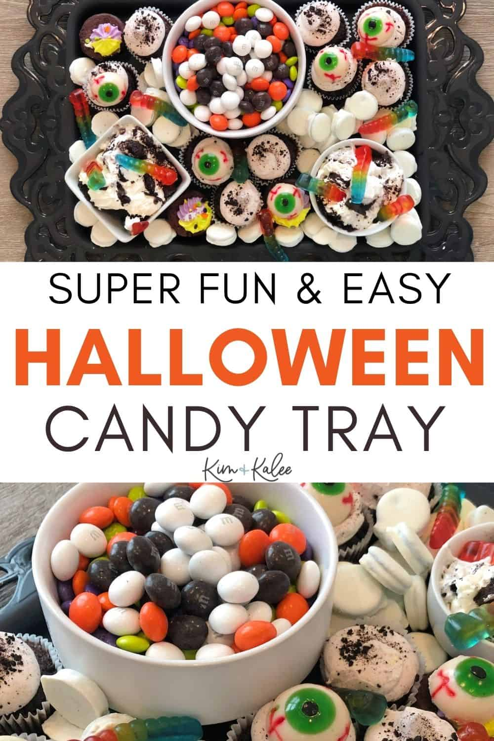 Halloween Candy Charcuterie Board collage