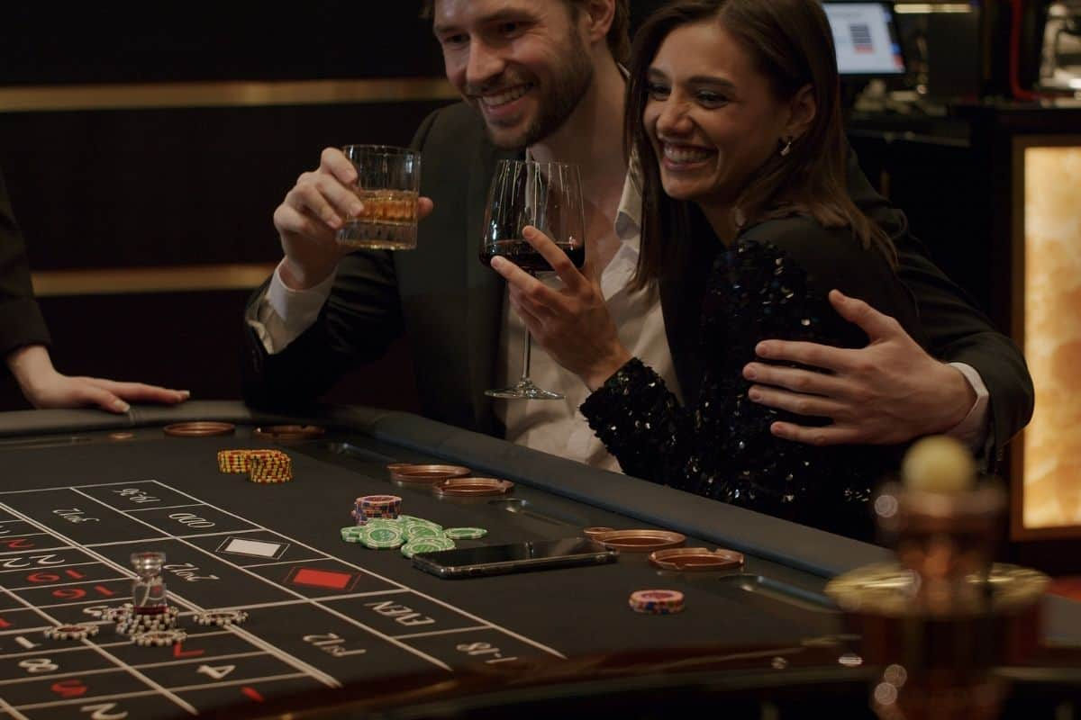 man and woman at a casino for 21st birthday